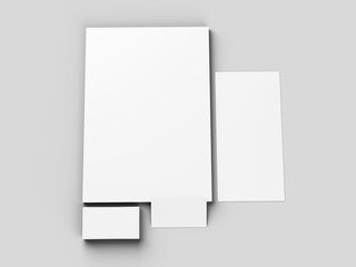 Paper in A4 format with business cards and envelope. Stationery mockup. 3d illustration