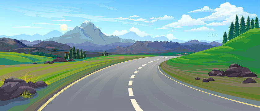 Perspective of a driving on a highway across the mountain landscape