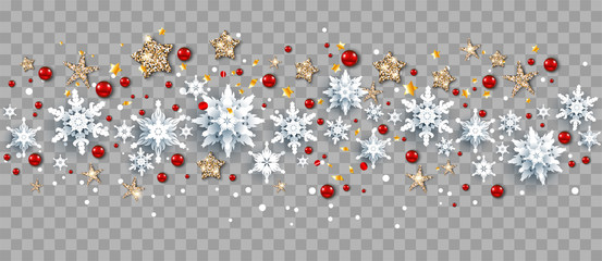 Fotomurales - Seasonal winter decoration with snowflakes