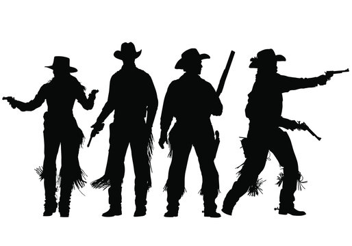 Vector silhouettes of wild-west gunslingers, outlaws, lawmen and cowboys.