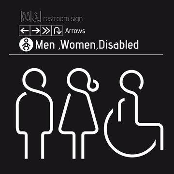 toilet restroom men women disabled handicap wheelchair sign vectors20