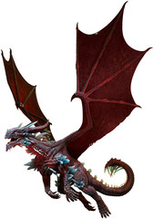 Wall Mural - Red and Mauve dragon 3D illustration