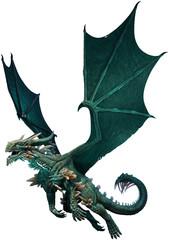Wall Mural - Sea green dragon 3D illustration