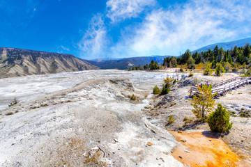 Main Terrace  of Mammoth Hot Springs at Yellowstone National Park