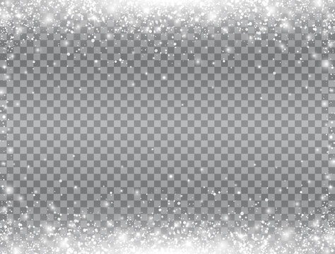 Shining snow border. Snow falling on transparent background. Merry Christmas card. Magic snowfall. Winter design elements for card, poster, web banner. Vector illustration