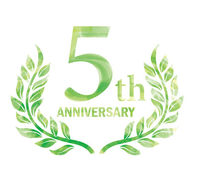 Anniversary logo of the 5th anniversary designed with laurel painted in watercolor.green