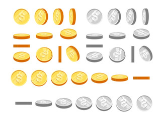 Gold and silver coins with dollar symbol, set of icons at different angles for animation. Flat cartoon gold and silver coins set. Modern vector illustration.