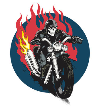 Skeleton ridind custom motorcycle. Dead biker vector illustration. T-shirt or poster design.