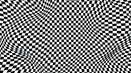 Deformed Checker Surface 3D Rendering