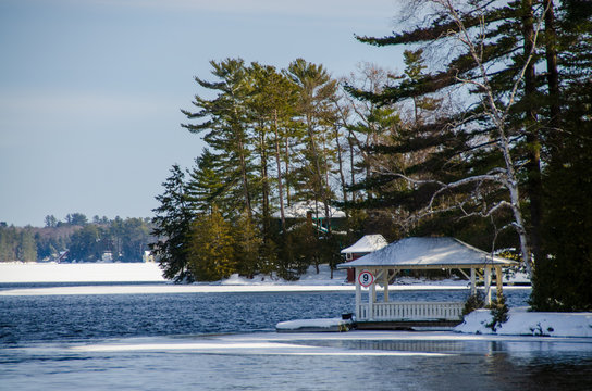boathouse on the lake in winter