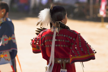 Pow Wow. Native American Woman Performing. Details of Clothes.