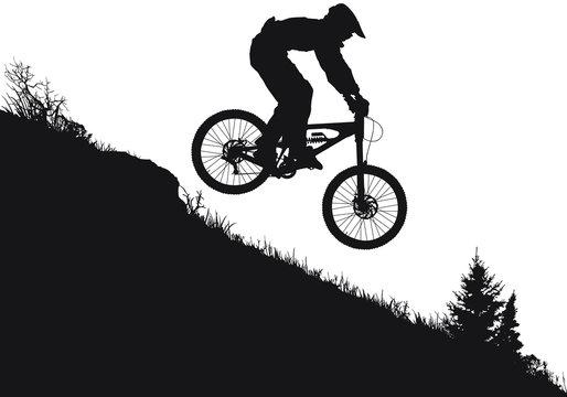 A vector silhouette of an extreeme downhill mountain biker
