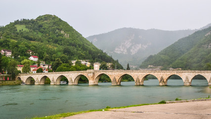 The Mehmed Pasa Sokolovic Bridge over the Drina River, Bosnia and Herzegovina.