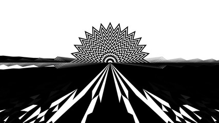 Abstrat Jagged Grayscale Psychedelic Illustration