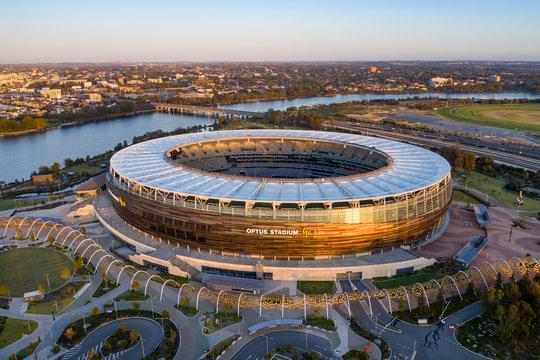 Perth Australia November 5th 2019: Aerial view of the Optus stadium at dawn in Perth, Western Australia