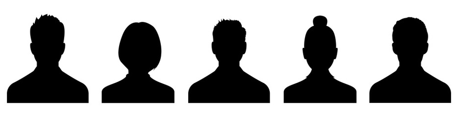 Male and female head silhouettes avatar, profile icons. Vector Wall mural