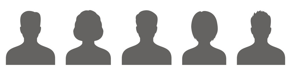 Male and female head silhouettes avatar, profile icons. Vector Fototapete