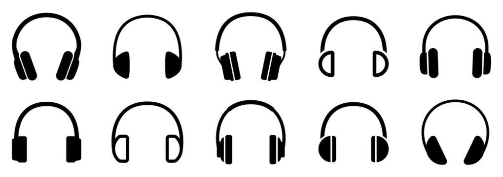 Headphones icons set. Vector illustration