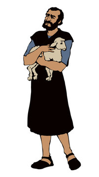 An old shepherd with a sheep. Vector drawing