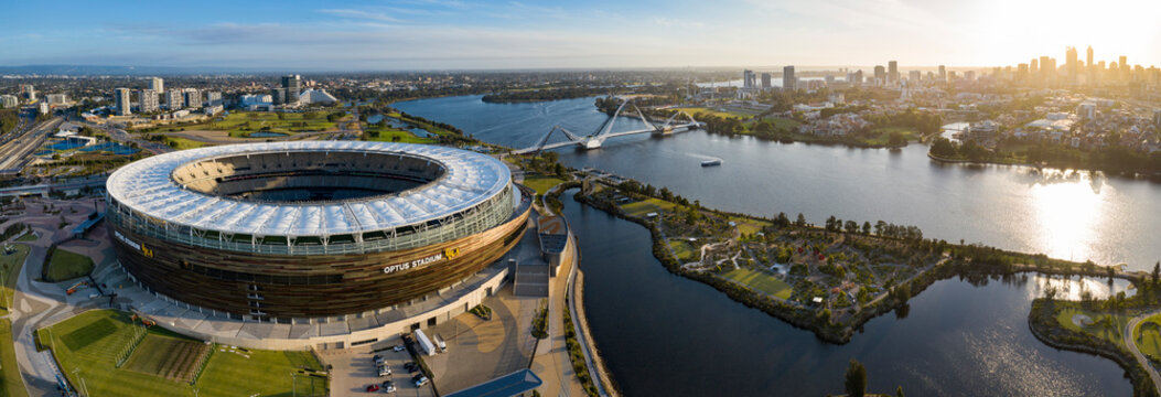 Perth Australia November 5th 2019: Panoramic aerial view of the Optus stadium and Matagarup bridge with the city of Perth, Western Australia in the background at sunset