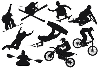 Vector silhouettes of various extreme sports.