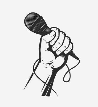 Microphone in hand. Song, karaoke vector illustration