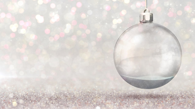Magic snow ball hanged as christmas classical decoration on bright bokeh background