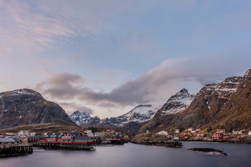 The village A with the typical red Rorbu fishing houses, Moskenes, Lofoten Islands, Norway, Scandinavia