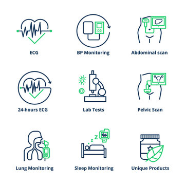 Medical services icon. Ultrasound scan, lab and ecg medical icon set