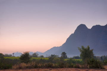 Foto op Canvas Donkergrijs landscape of mountain tn the nice sky in themorning
