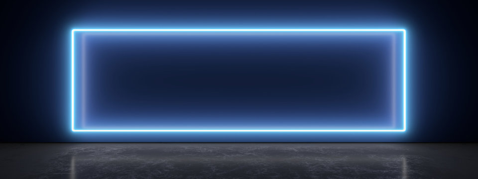 White neon lamp on a blue wall. Blurry reflections on the dark floor. 3d rendering image.