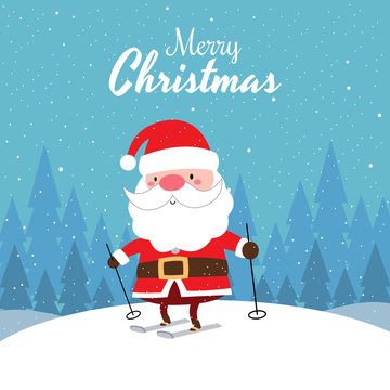 Merry Christmas with Cute Kawaii Hand Drawn Santa Claus Skiing With Smiling And Funny Face. Cartoon. Vector. Character. Illustration. Flat Design. Background. Greeting. Invitation. Postcard. Banner