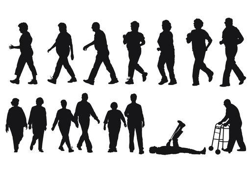 Vector silhouettes of senior citizens exercising.