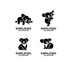 set of mom and kid koala black logo icon design vector