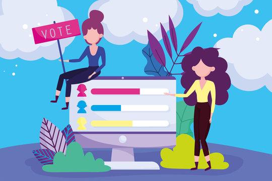 women and computer survey politics election democracy voting