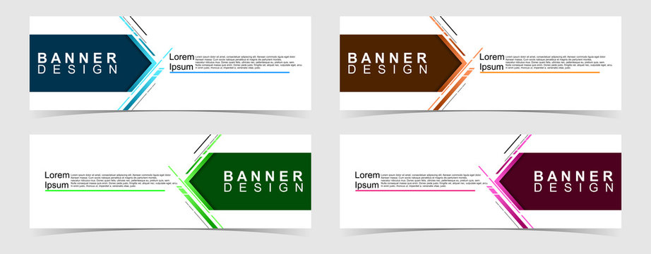 Set of abstract vector banners design. Collection of web banner template. modern template design for web, ads, flyer, poster with 4 different colors on grey background