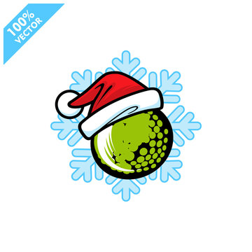 Golf santa hat with snow flake background  logo vector