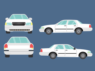 Papiers peints Cartoon voitures Set of white sedan car view on blue background,illustration vector,Side, front, back