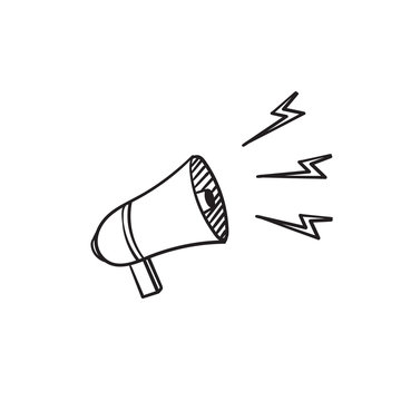 Loud Speaker Icon, Megaphone Icon Vector Illustration In hand drawn doodle Style Eps10