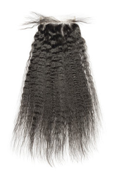 Virgin straight black coarse afro style human hair extensions lace closure