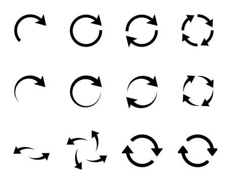 カーブの矢印アイコン リサイクル 回転 セット
