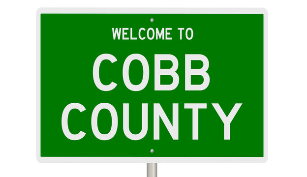 Rendering of a 3d green highway sign for Cobb County