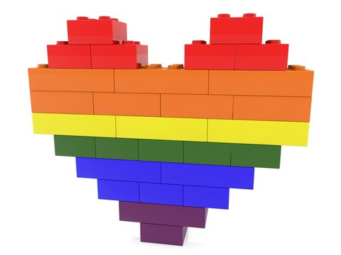 Abstract heart of toy bricks