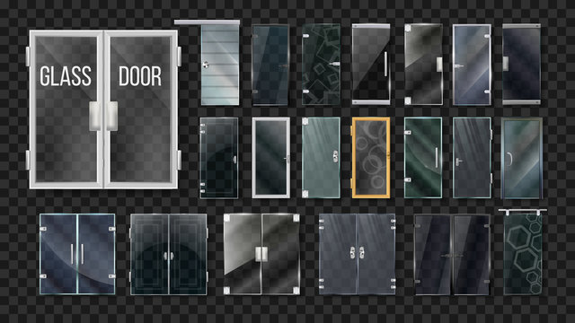 Glass Doors Architecture Collection Set Vector. Transparent Doors With Different Material Handle, Hinges And Frames. Modern Front Center Entrance Template Realistic 3d Illustrations