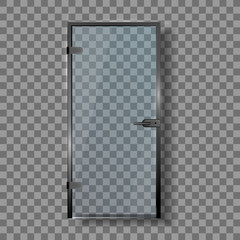 Glass Door With Steel Handle And Hinges Vector. Closed Elegance Transparent Door Entrance To Sauna Or Bath Shower. House Interior Stylish Element Template Realistic 3d Illustration