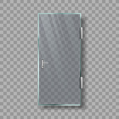 Glass Door With Handle And White Frame Vector. Transparency Door With Metal Chrome Doorhandle Entrance On Balcony Or Porch. Stylish Exterior Element Template Realistic 3d Illustration