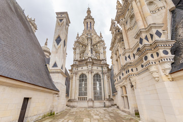 Chateau de Chambord, view of the terrace roof and elaborate towers and pinnacles , in Loire valley, Centre Valle de Loire in France