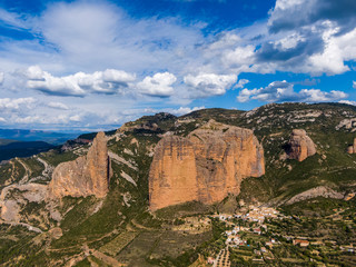 Aerial view of the Mallos de Riglos, a set of conglomerate rock formations in Spain