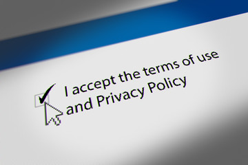 "Mouse Cursor Clicking ""I accept the terms of use  and Privacy Policy"" Checkbox,  Terms and Conditions Agreement"