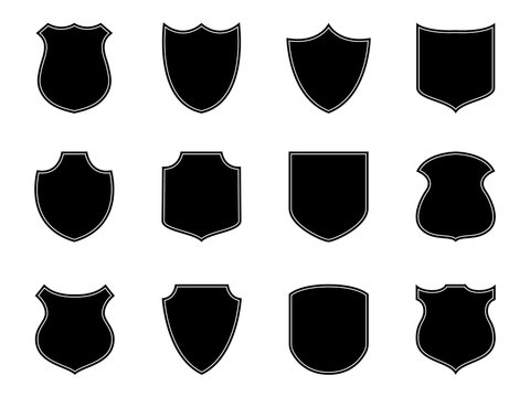 Police badge label. Military logo, shield emblem. Security badge silhouettes. Flat football patch. Set of armor safety. Soccer badge isolated on white background. Police emblem or stamp. vector